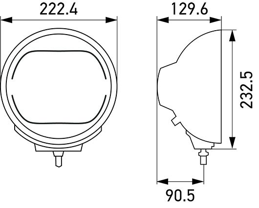 Luminator LED high-beam headlamp, metal (ECE Ref. 25)